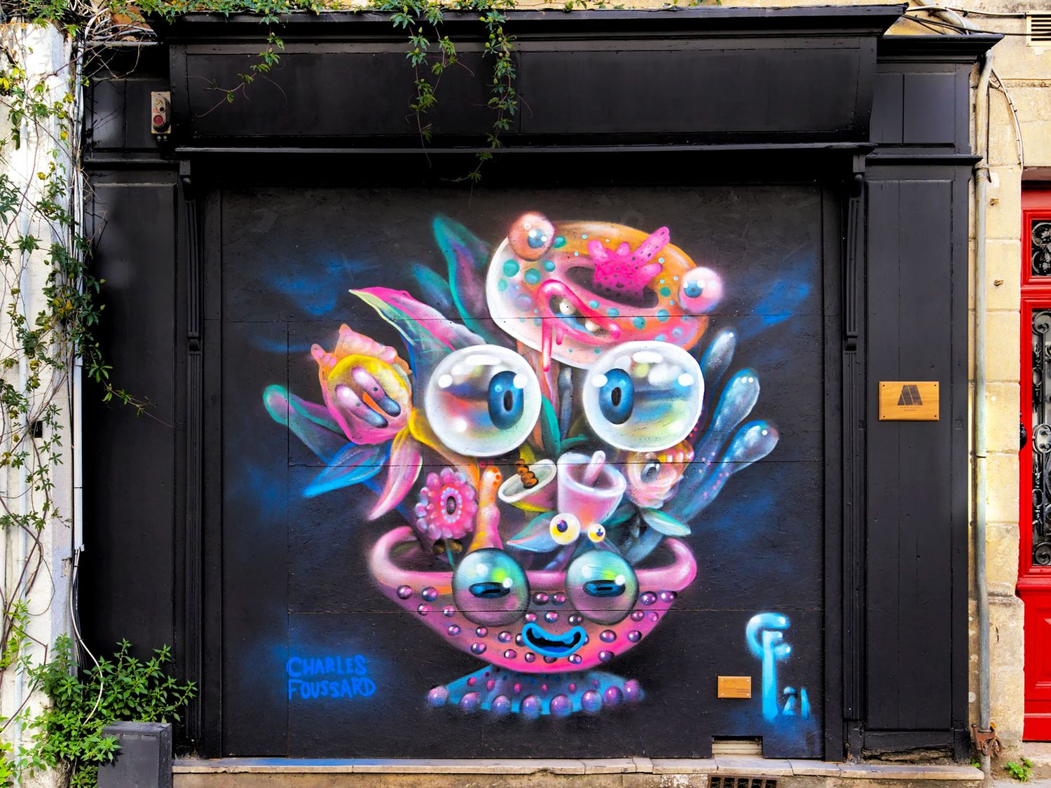 A glimpse of one of the last murals done by Charles Foussard on a storefront in the streets of Bordeaux. Rue du palais Gallien (photo by Stéphane ©Graf'In'Gironde).